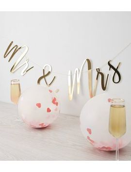 Gold Mr And Mrs Slogan Wedding Bunting by New Look