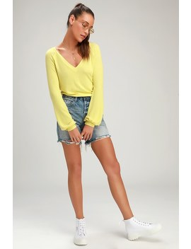 Tori Chartreuse V Neck Long Sleeve Sweater Top by Lulus