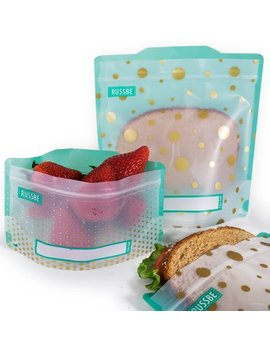 Set Of 4 Russbe Reusable Snack & Sandwich Bags  Metallic Polka Dot by Russbe