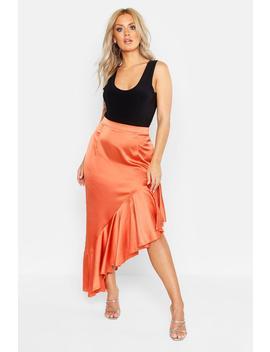 Plus Satin Ruffle Asymmetric Midi Skirt by Boohoo