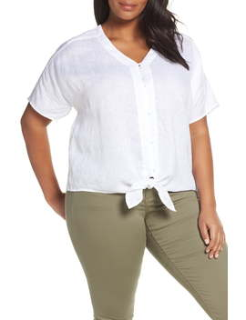 Tie Front Linen Top by Vince Camuto