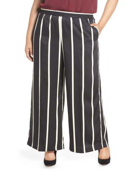 Stripe Wide Leg Satin Pants by Vince Camuto