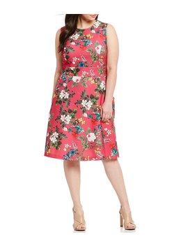 Plus Size Floral Print Side Pocket Sleeveless Dress by Calvin Klein