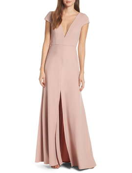 Cara Deep V Neck Evening Dress by Jenny Yoo
