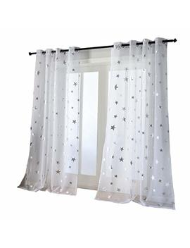 Kotile Transparent And Soft Cosmic Theme Curtains For Girls Bedroom, Foil Print Star Patern Grommet Window Curtain Drapes For Living Room, W52 X L95, 2 Panels, Silver White by Kotile