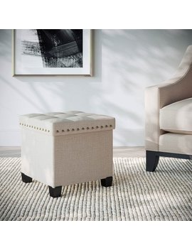 Payton Foldable Storage Ottoman Footrest And Seat, Cube, Beige by Nathan James