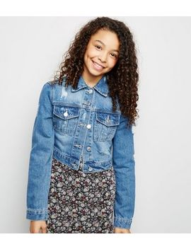 Girls Blue Ripped Denim Jacket by New Look