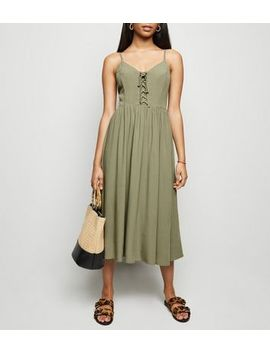 Petite Khaki Lace Up Front Midi Dress by New Look