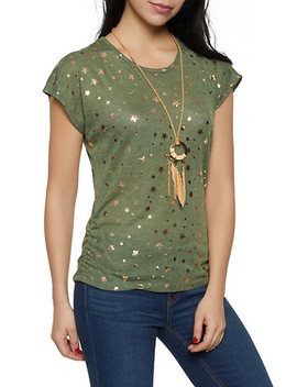 Foil Star Print Tee With Necklace by Rainbow