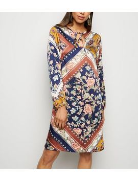 Mela Blue Scarf Print Tunic Dress by New Look