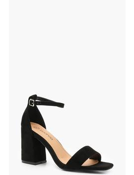 Wide Fit Square Toe Two Part Block Heels by Boohoo
