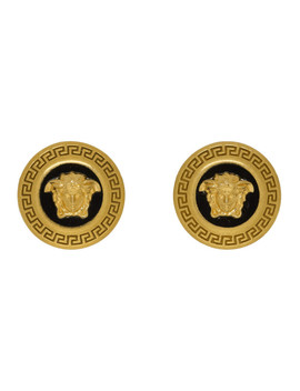 Black & Gold Small Medusa Coin Earrings by Versace