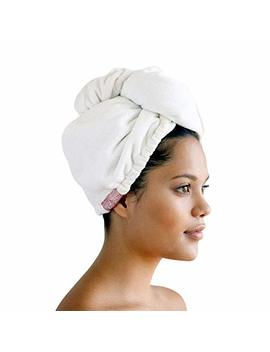 Women, Hair Turban For Drying Wet Hair, Easy Twist Hair Towels, Super Absorbent & Ultra Soft (White) by Kitsch