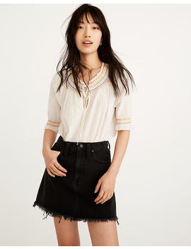 Rigid Denim A Line Mini Skirt In Lunar Wash: Fluffy Hem Edition by Madewell