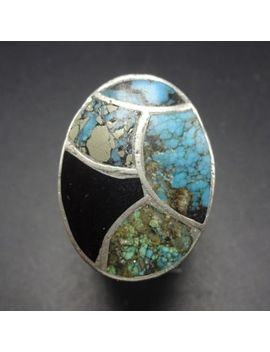 Heavy Vintage Navajo Sterling Silver Jet & Turquoise Inlay Signet Ring Size 9.75 by Ebay Seller