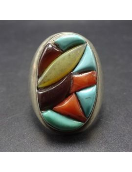 Vintage Zuni Sterling Silver Coral Turquoise Cobblestone Inlay Signet Ring Sz 10 by Ebay Seller