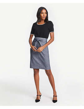 Chambray Tie Waist Pencil Skirt by Ann Taylor
