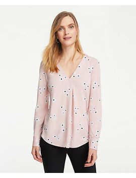 Floral Matte Jersey Pleat Front Top by Ann Taylor