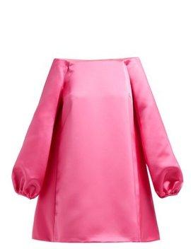 Off The Shoulder Duchess Satin Mini Dress by Sara Battaglia