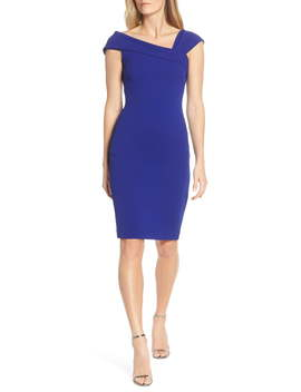 Asymmetrical Neck Sheath Dress by Vince Camuto