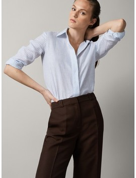Striped 100 Percents Linen Shirt by Massimo Dutti