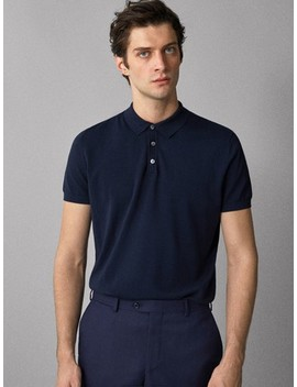 Plain Cotton Polo Style Sweater by Massimo Dutti