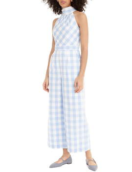 Gingham High Neck Cotton Poplin Jumpsuit by J.Crew