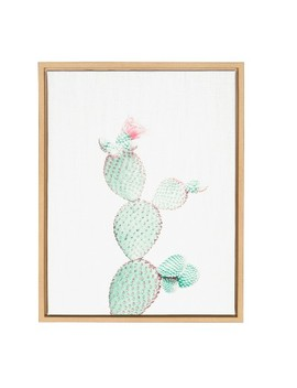 """Kate & Laurel 24""""X18"""" Sylvie Prickly Pear Cactus By Simon Te Tai Framed Wall Canvas Wood by Kate & Laurel All Things Decor"""
