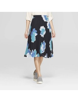 Women's Floral Print Pleated Skirt   A New Day Navy by A New Day Navy