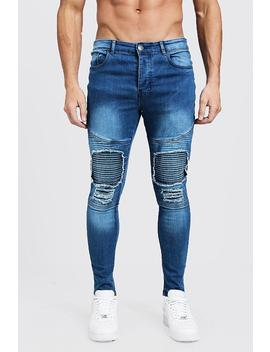Jean Style Motard Super Skinny Avec Pièces by Boohoo