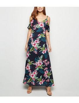 Mela Blue Tropical Cold Shoulder Maxi Dress by New Look