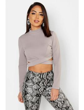 High Neck Long Sleeve Cut Out Crop by Boohoo