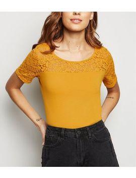 Jdy Mustard Lace Yoke T Shirt by New Look