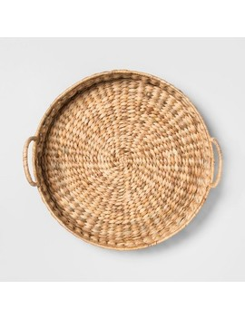 """17.7"""" X 6.3"""" Water Hyacinth Beaded Woven Tray Natural   Opalhouse by Opalhouse"""