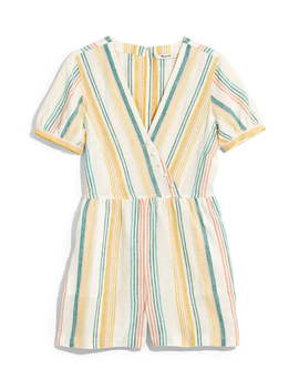 Stripe Linen Button Wrap Romper by Madewell