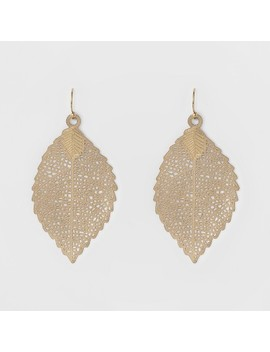 Women's Leaf Drop Earring   A New Day Gold by A New Day Gold