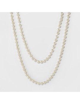 Long Faux Pearl Necklace   A New Day Silver/White by A New Day Silver/White