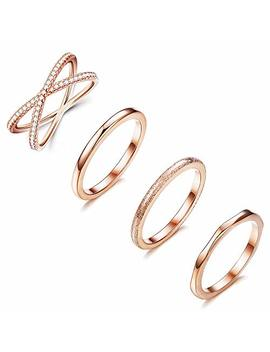Loyallook 4 Pcs Stainless Steel Stacking Wedding Band Rings Women Cz Criss Cross Ring Girls Engagement Eternity Knuckle Mid Ring Set Silver/Rose Gold Tone, Size 4 10 by Loyallook