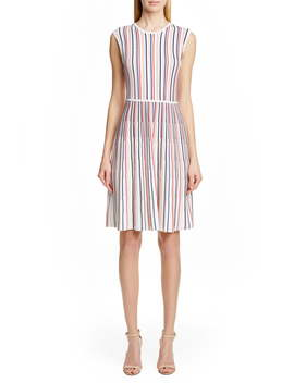 Stripe Silk Blend Sweater Dress by Lela Rose