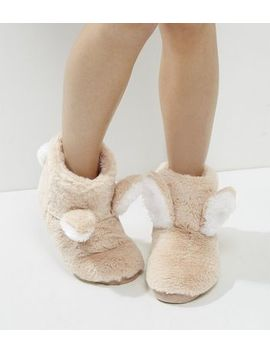 Cream Faux Fur Bunny Ear Slipper Boots by New Look
