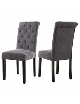 Lssbought Stylish Dining Room Chairs With Solid Wood Legs, Set Of 2 (Gray) by Lssbought