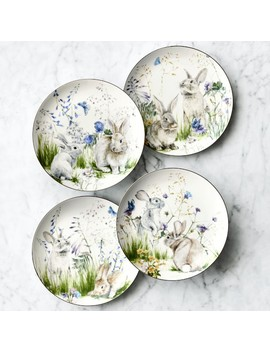 Floral Meadow Mixed Salad Plates, Set Of 4, Bunny by Williams   Sonoma