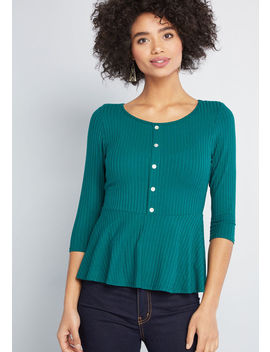 Nonstop Knit Peplum Top by Modcloth