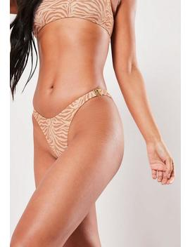 Nude Animal Print High Leg Boomerang Bikini Botttoms by Missguided