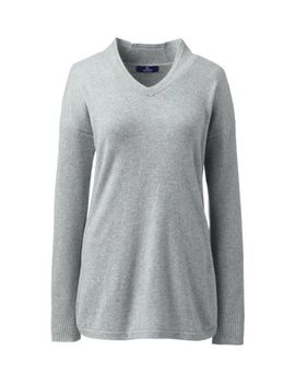 Women's Plus Size Cashmere Tunic Sweater V Neck by Lands' End