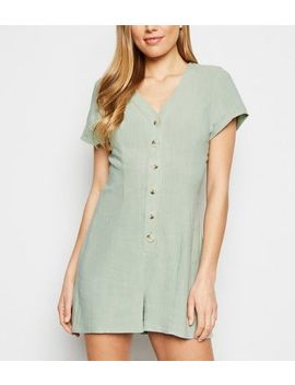 Mint Green Linen Look Button Up Playsuit by New Look
