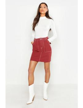 Tall Contrast Stitch Denim Mini Skirt by Boohoo