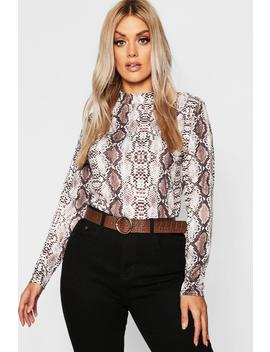 Plus High Neck Snake Roll Neck by Boohoo