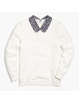 Pullover With Woven Collar by J.Crew