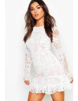 Corded Lace Frill Hem Mini Dress by Boohoo